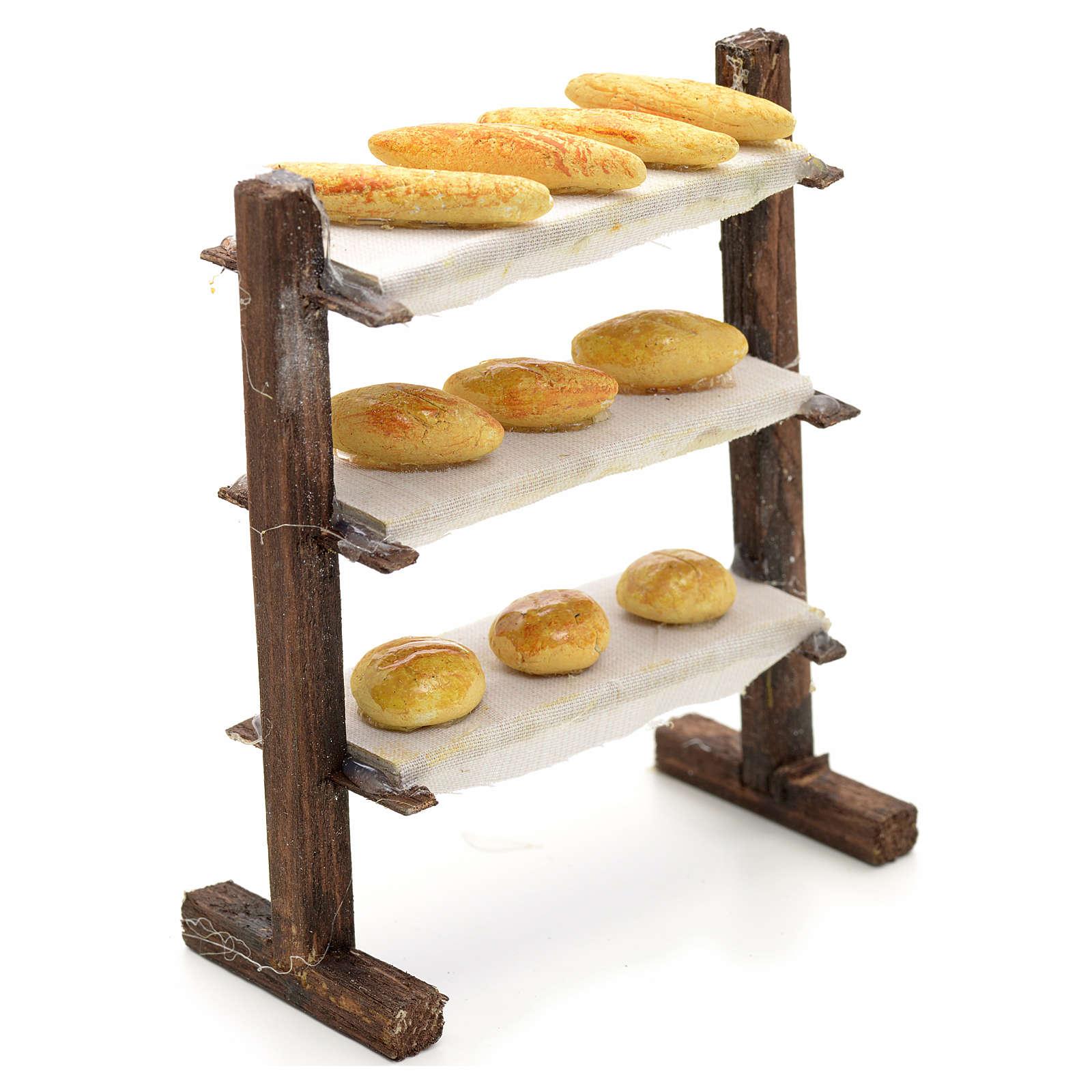 Scaffale con pane presepe napoletano cm 12 4