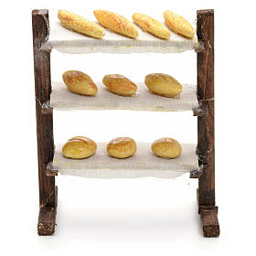 Scaffale con pane presepe napoletano cm 12 s1