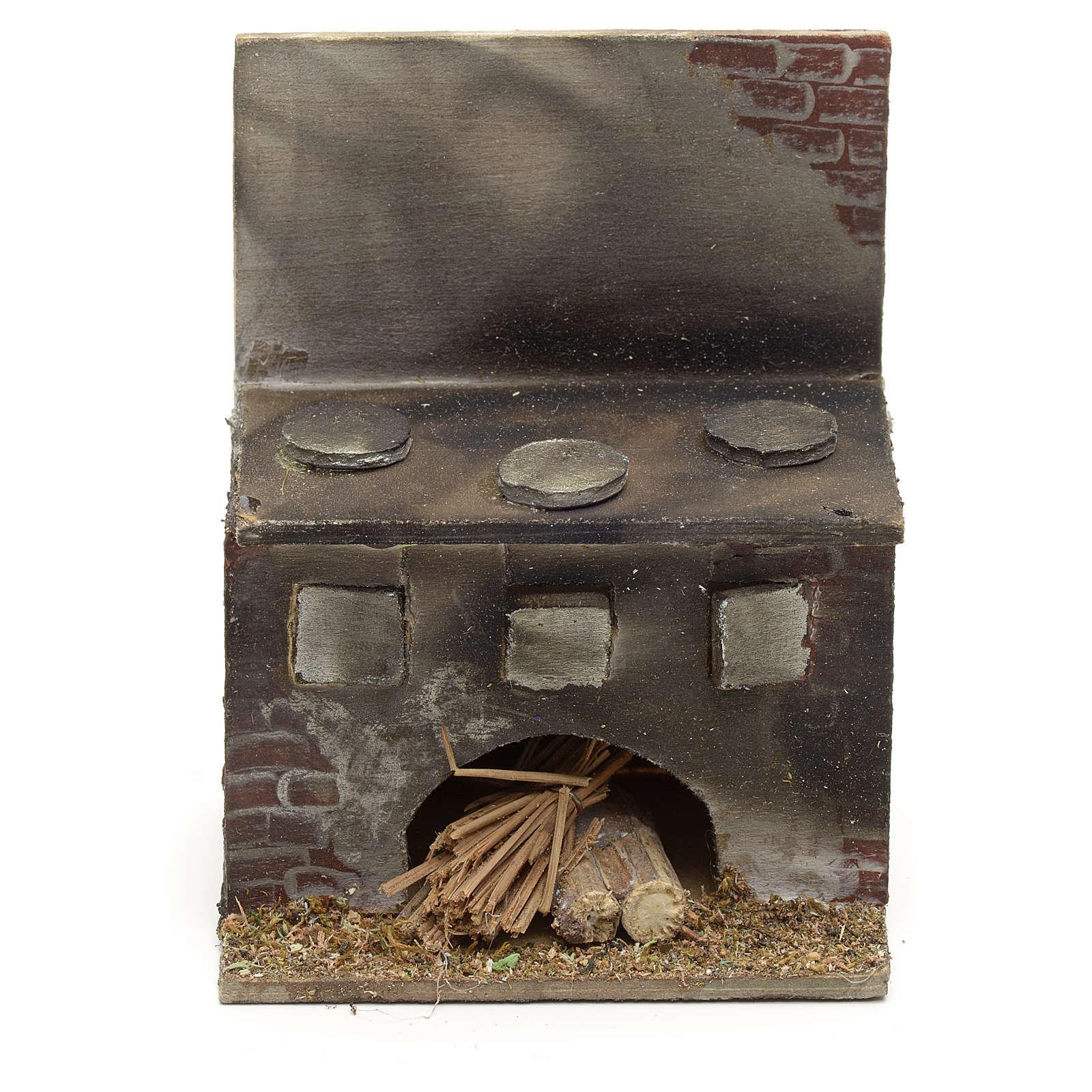 Cucina presepe napoletano legno 8x6,5x5 cm 4