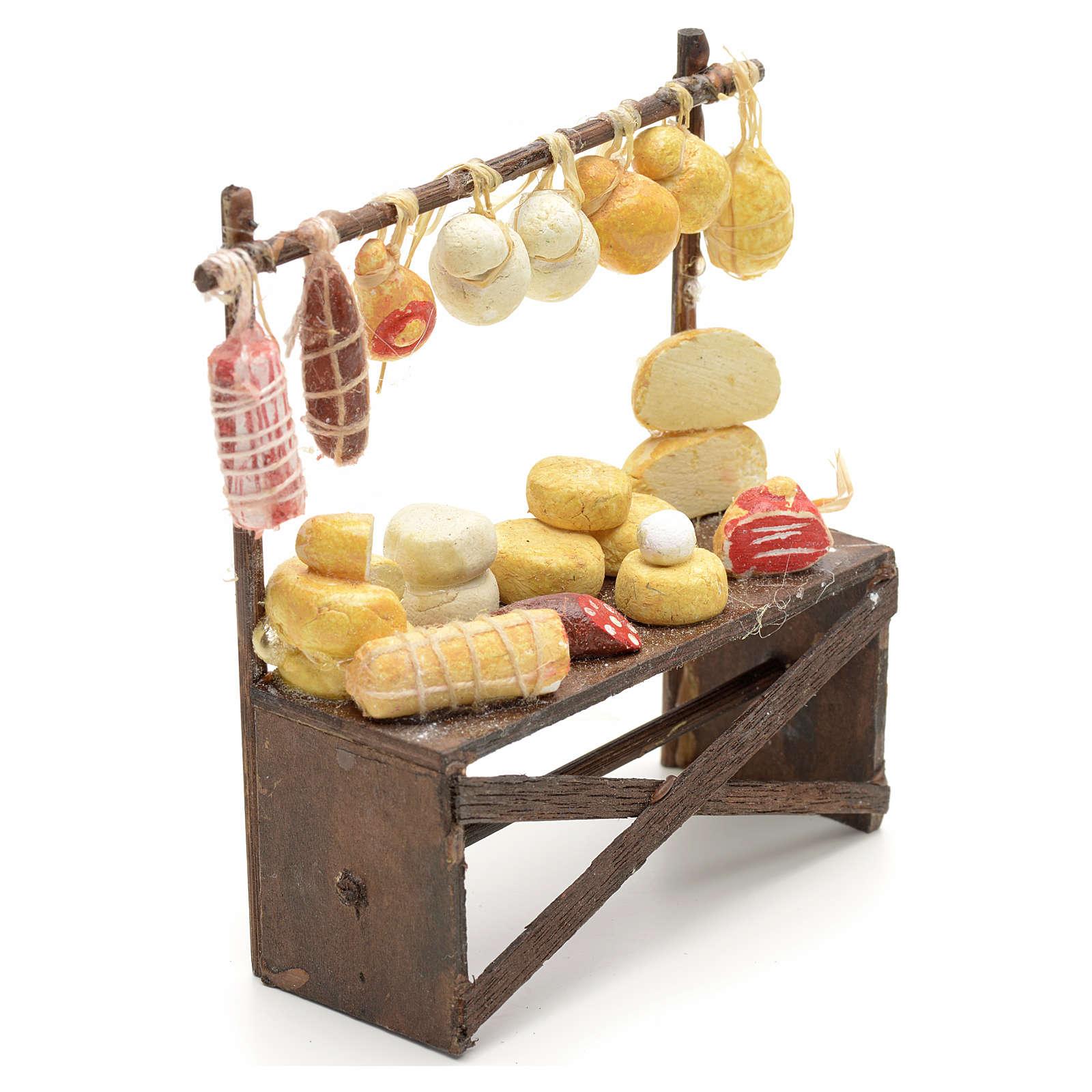 Banco salumi e formaggi presepe  9x8x3 cm 4