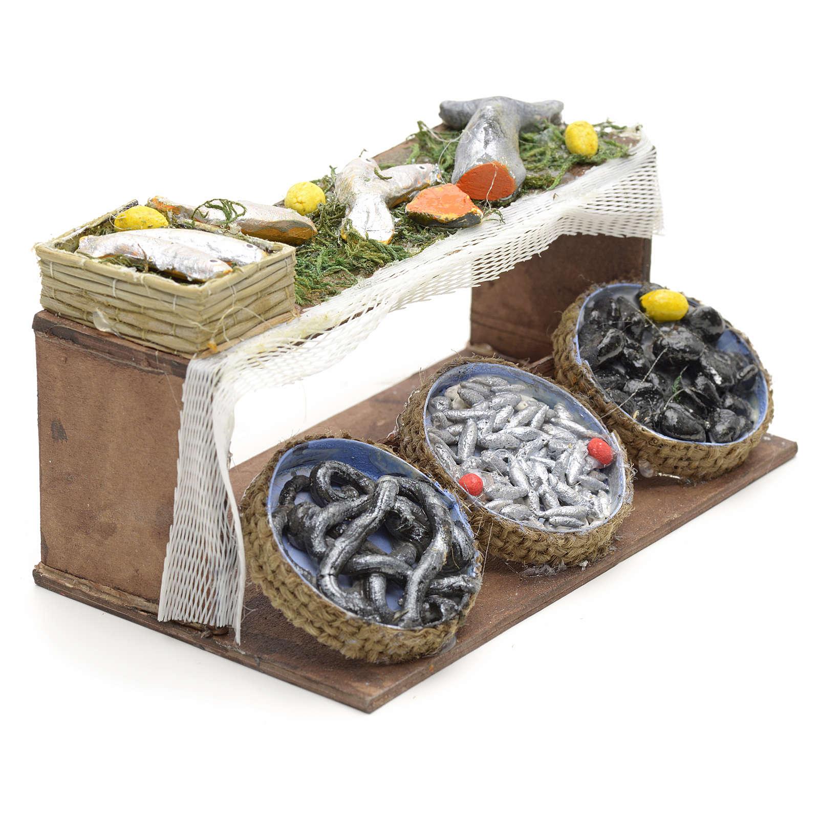 Banco de pescado pesebre napolitano 4x11x6,5cm 4