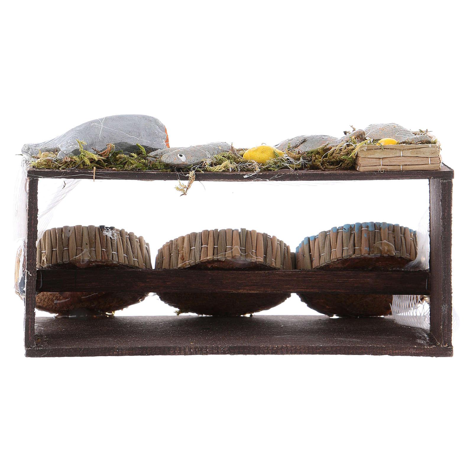 Banco del pesce presepe napoletano 4x11x6,5 cm 4