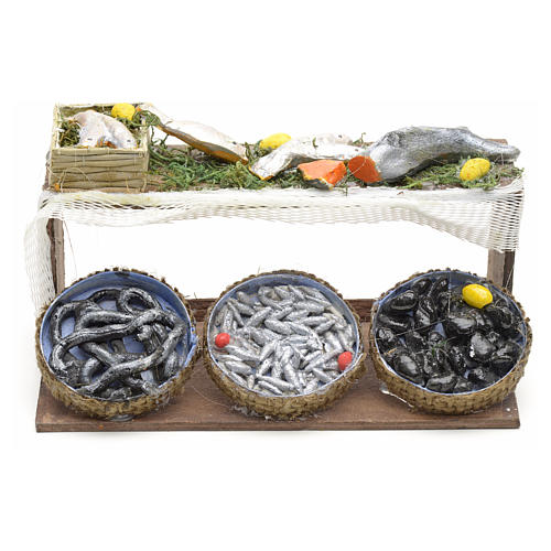 Neapolitan Nativity scene accessory, fish stall 12 cm 1