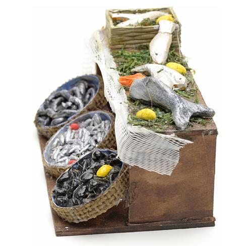 Neapolitan Nativity scene accessory, fish stall 12 cm 3
