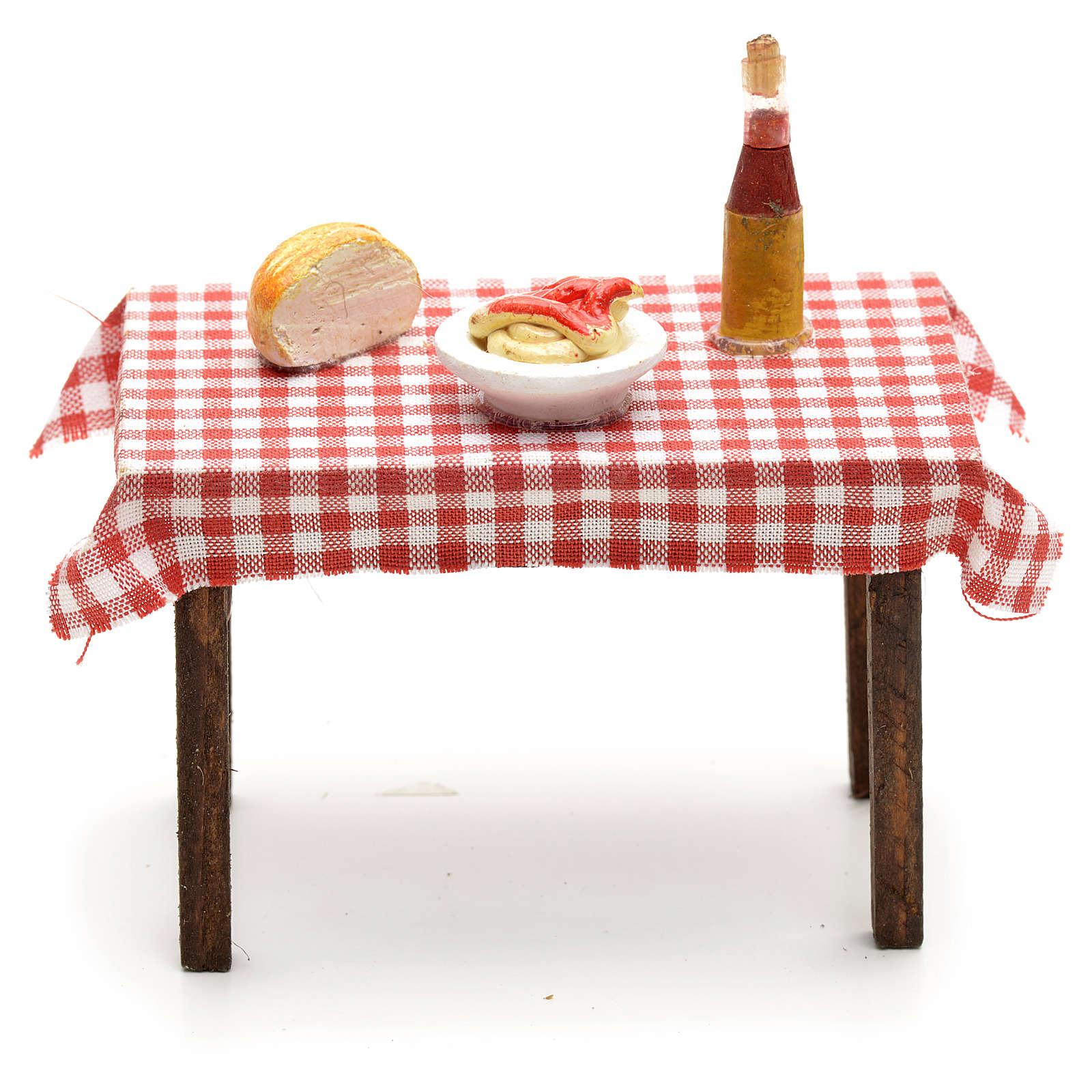 Tavolo imbandito 5,5x7x5 cm presepe napoletano 4