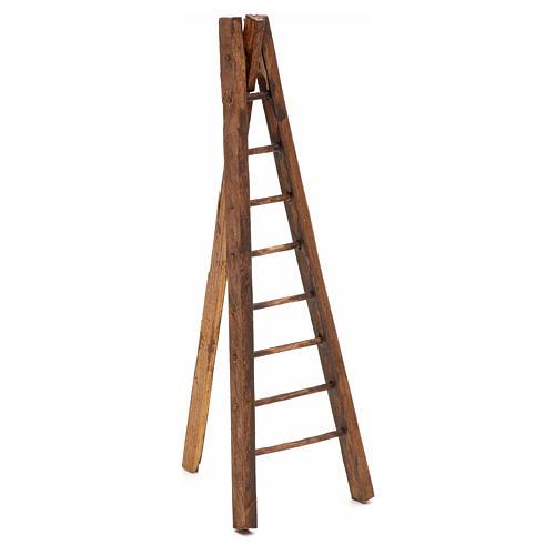 Échelle trois pieds en bois crèche h 15 cm 1