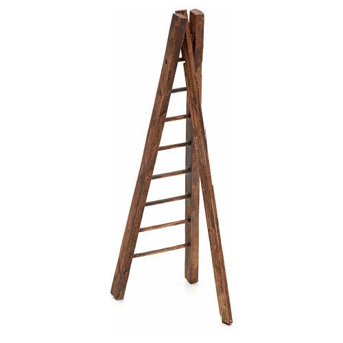 Échelle trois pieds en bois crèche h 15 cm 2
