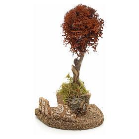 Arbre lichen rouge pour crèche h 18 cm s1