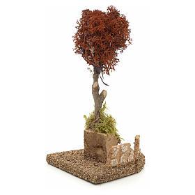 Arbre lichen rouge pour crèche h 18 cm s2