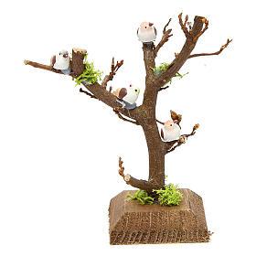 Musgo, líquenes, plantas.: Árbol sin hojas con pajaritos para pesebre