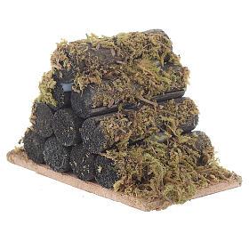 Catasta di legna con muschio presepe s2