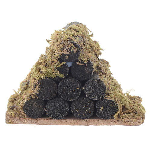 Nativity accessory, wood stack with moss 1