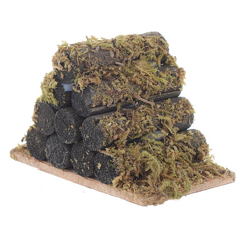 Nativity accessory, wood stack with moss 2