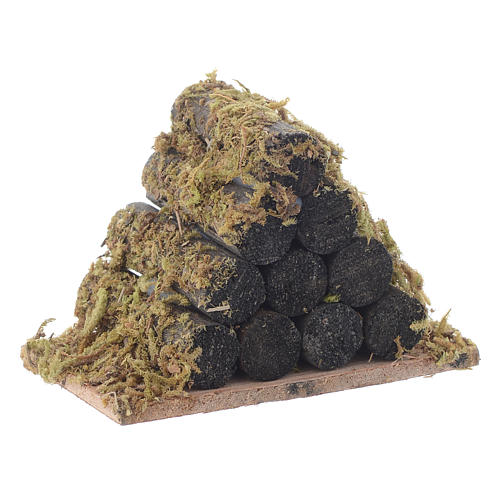 Nativity accessory, wood stack with moss 3