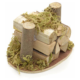 Catasta di legna e muschio per presepe s2