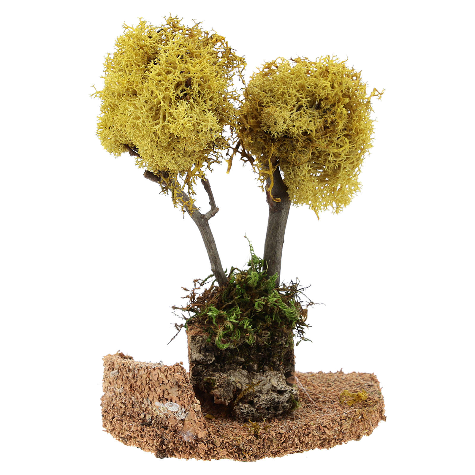 Albero lichene giallo per presepe h 18 cm 4