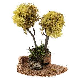Albero lichene giallo per presepe h 18 cm s2