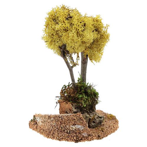 Albero lichene giallo per presepe h 18 cm 3