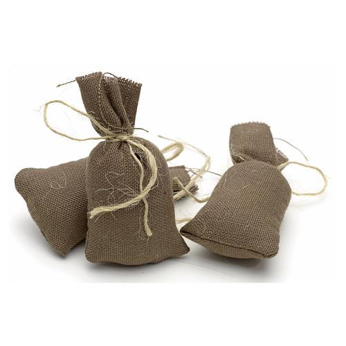 Nativity accessory, set of 3 cloth sacks H7cm 1