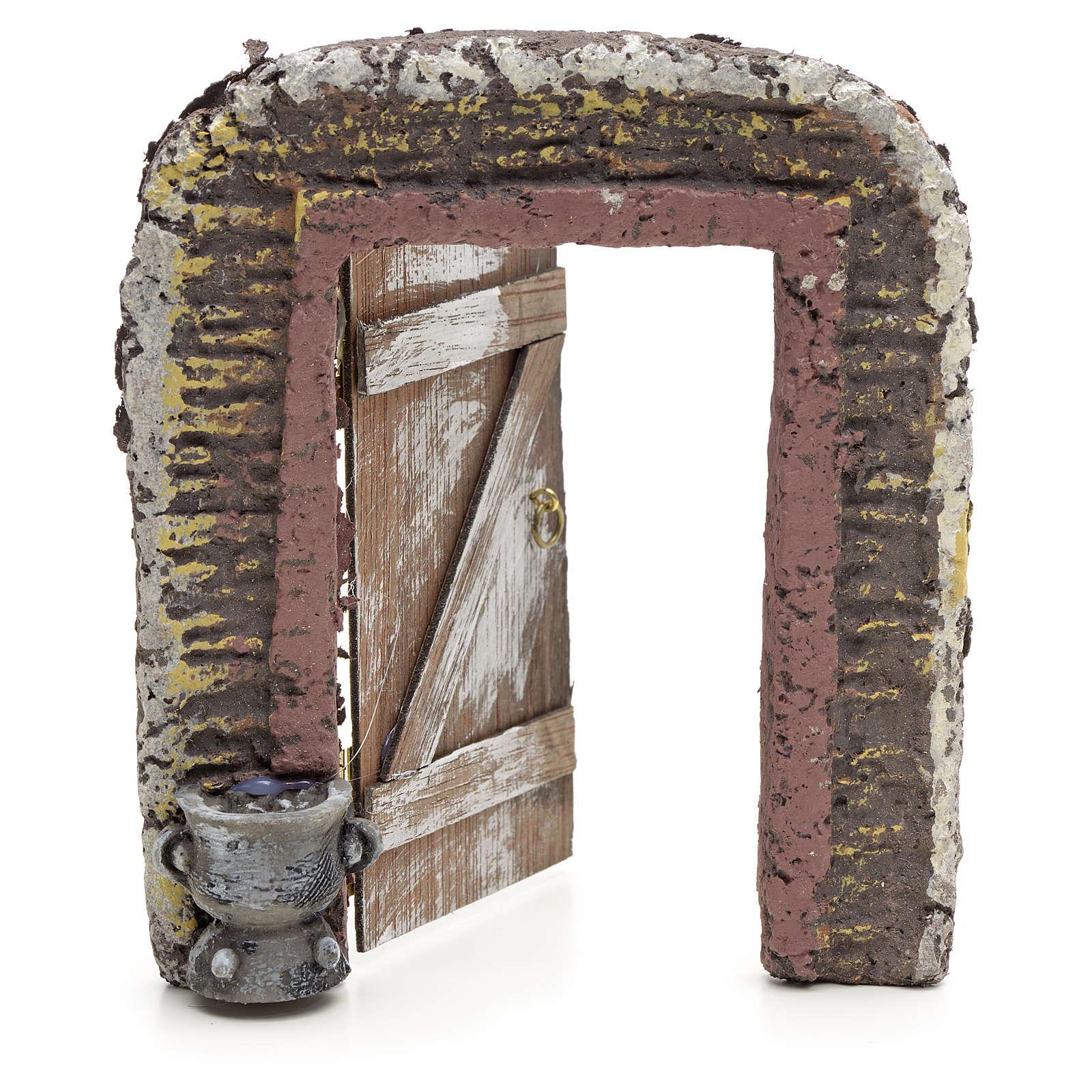 Mur avec porte décor crèche 15x13 cm 4