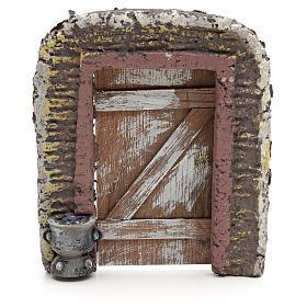 Mur avec porte décor crèche 15x13 cm s1