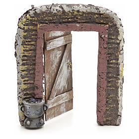 Mur avec porte décor crèche 15x13 cm s2