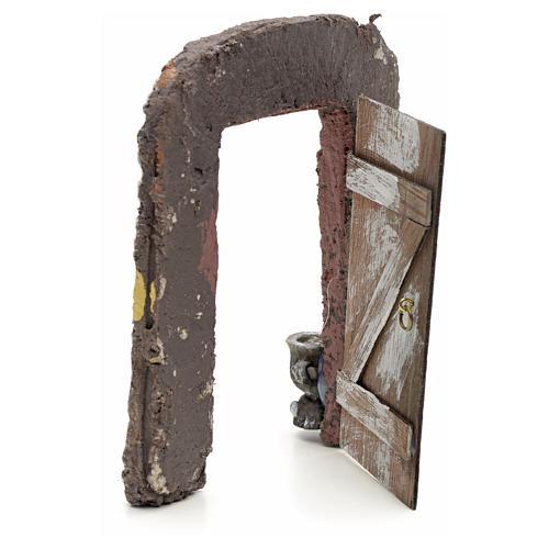 Muro con porta per presepe 15x13 cm 3