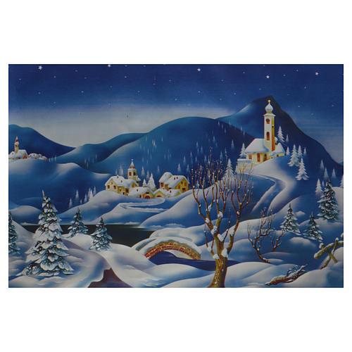 Nativity scene backdrop, winter setting, roll of pvc 70 x 100c 1