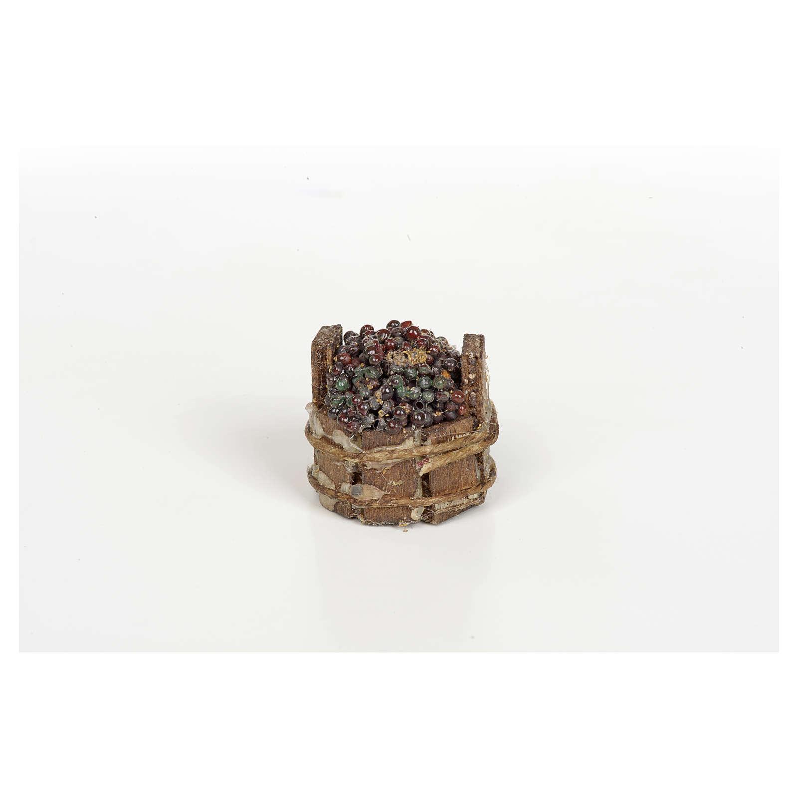 Tinozza uva nera presepe Napoli diam 3 cm 4