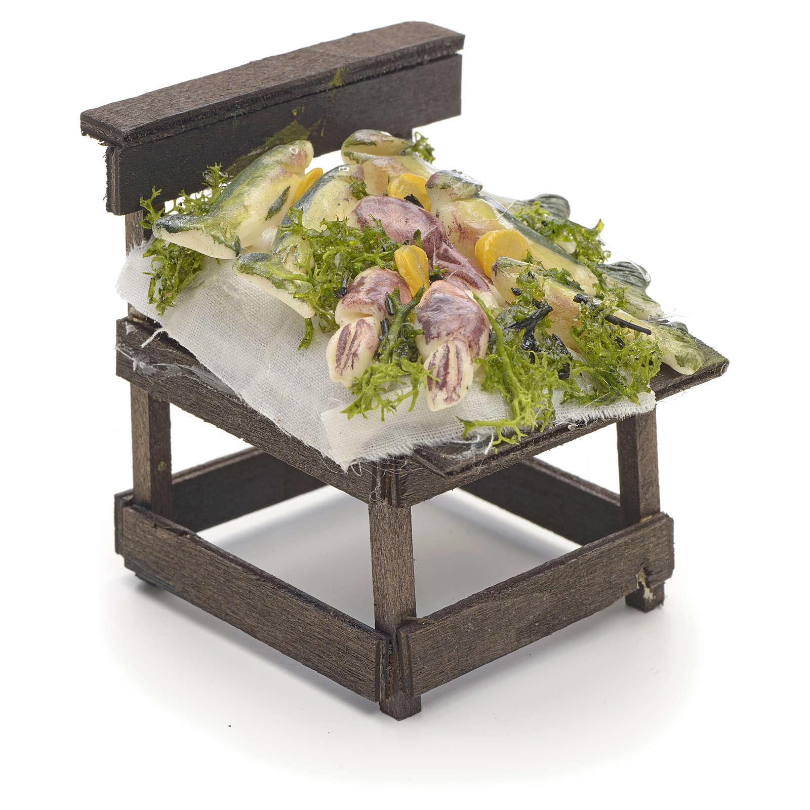 Comptoir des poissons en miniature crèche Napolitaine 4