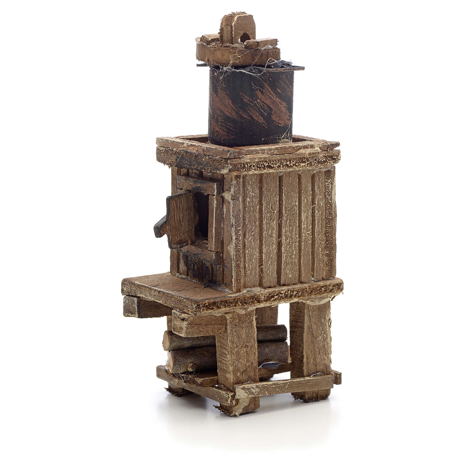 Neapolitan Nativity scene accessory, wood-burning oven with pot 4