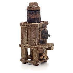 Neapolitan Nativity scene accessory, wood-burning oven with pot s2