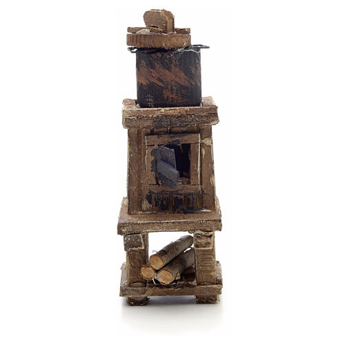 Neapolitan Nativity scene accessory, wood-burning oven with pot 1