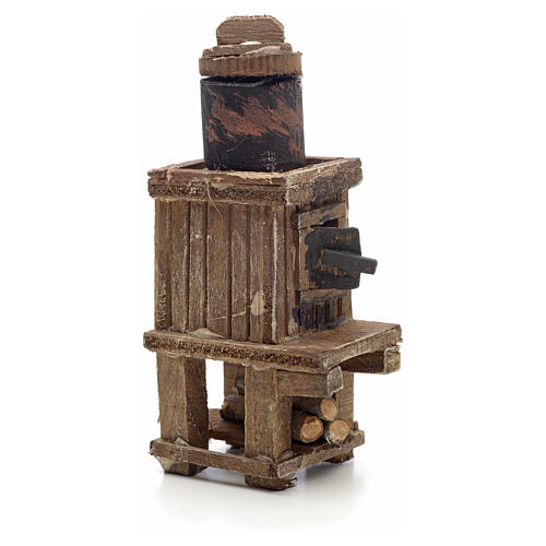 Neapolitan Nativity scene accessory, wood-burning oven with pot 2