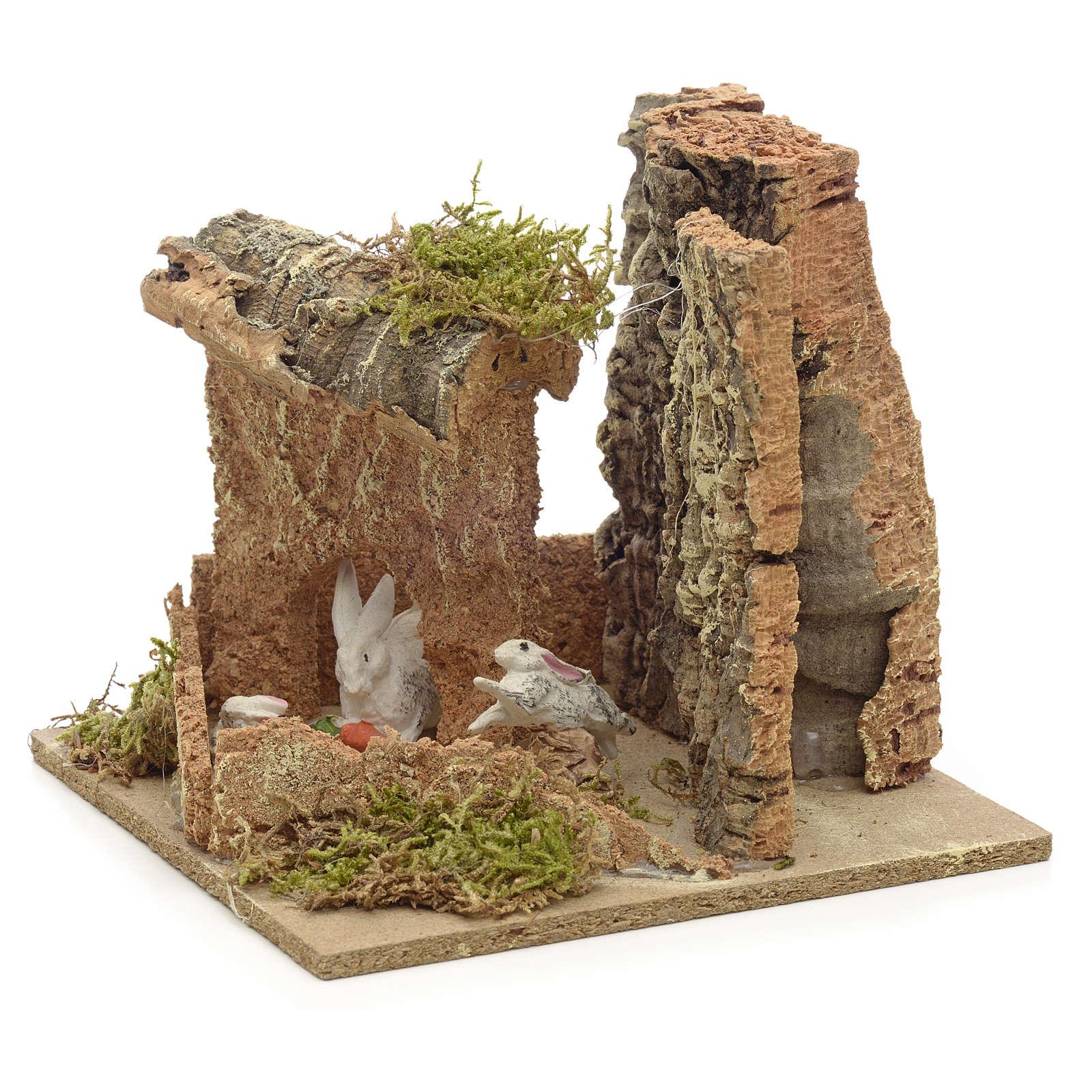Ambiente presepe conigli e sughero 14x15x14 cm 4
