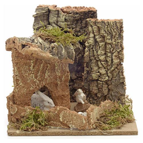 Ambiente presepe conigli e sughero 14x15x14 cm 1