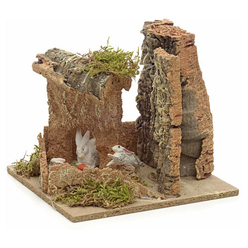 Ambiente presepe conigli e sughero 14x15x14 cm 2