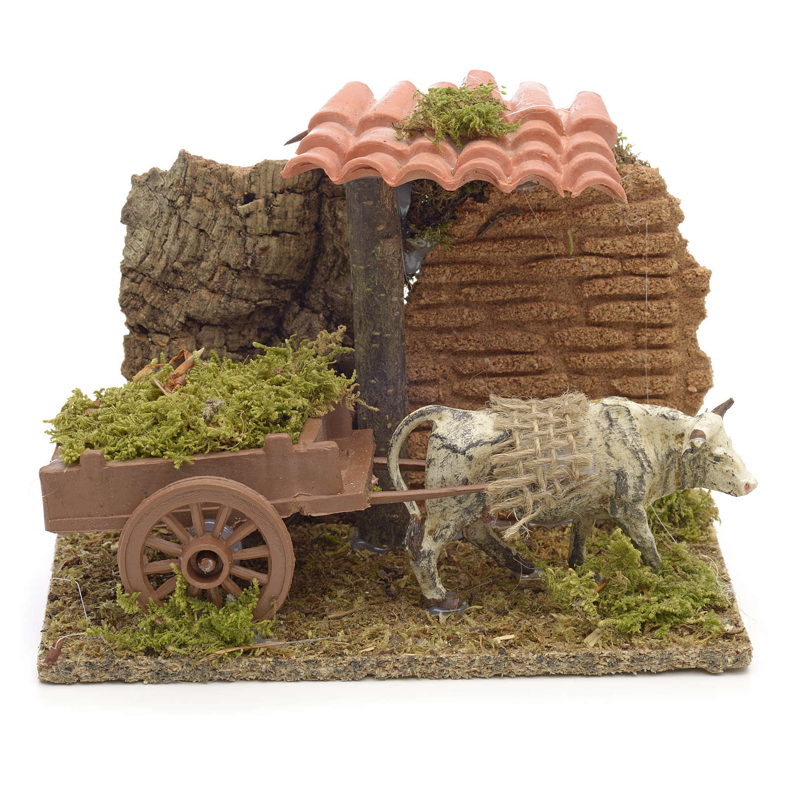 Nativity setting, white ox with cart 10x14x9cm 4