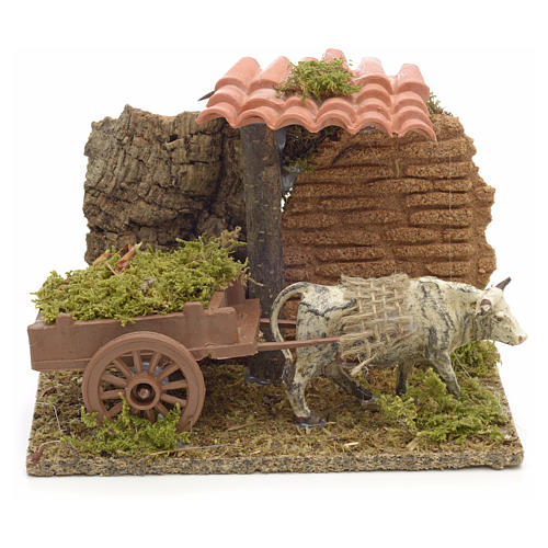 Nativity setting, white ox with cart 10x14x9cm 1