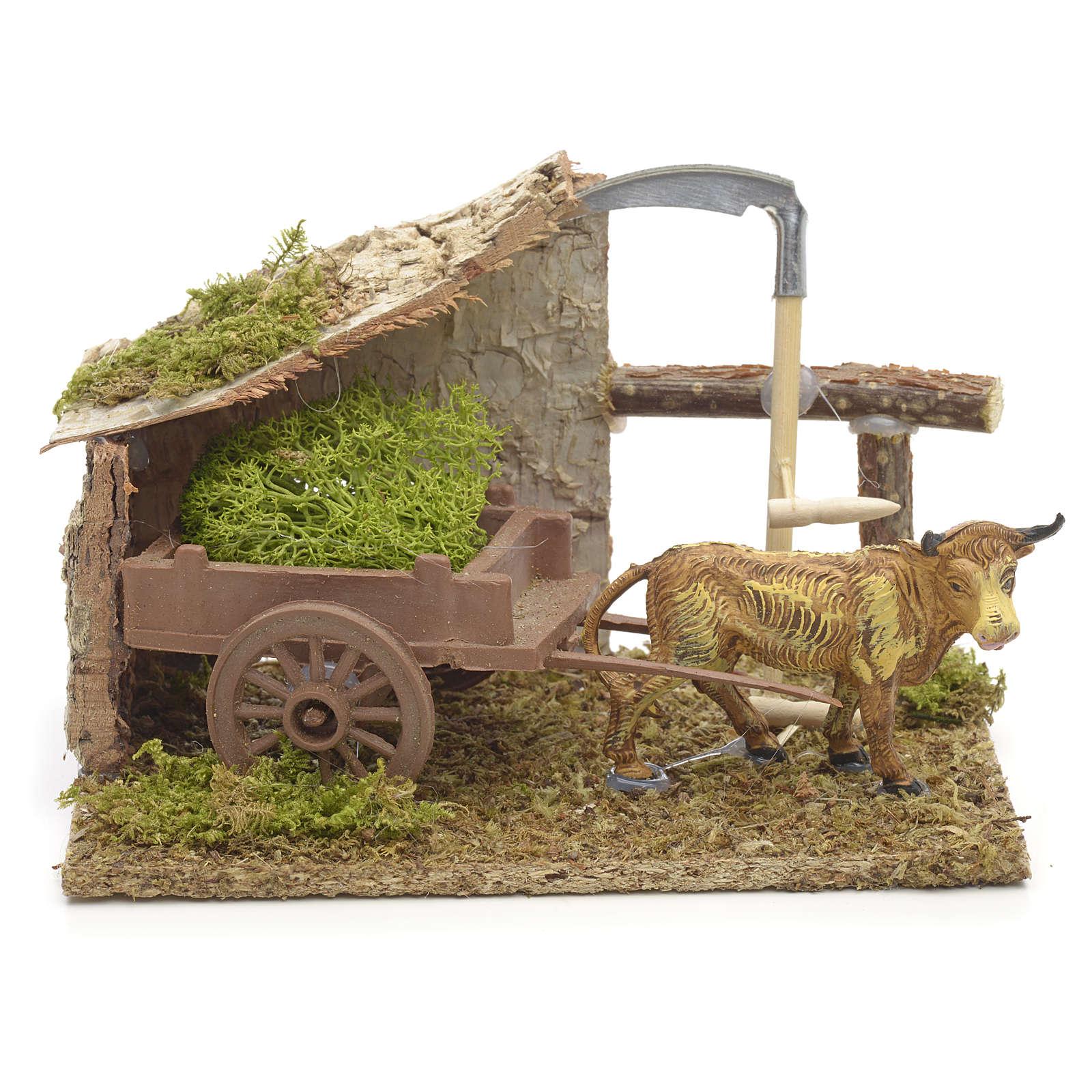 Ambiente presepe bue marrone con carro 10x14x9 cm 4