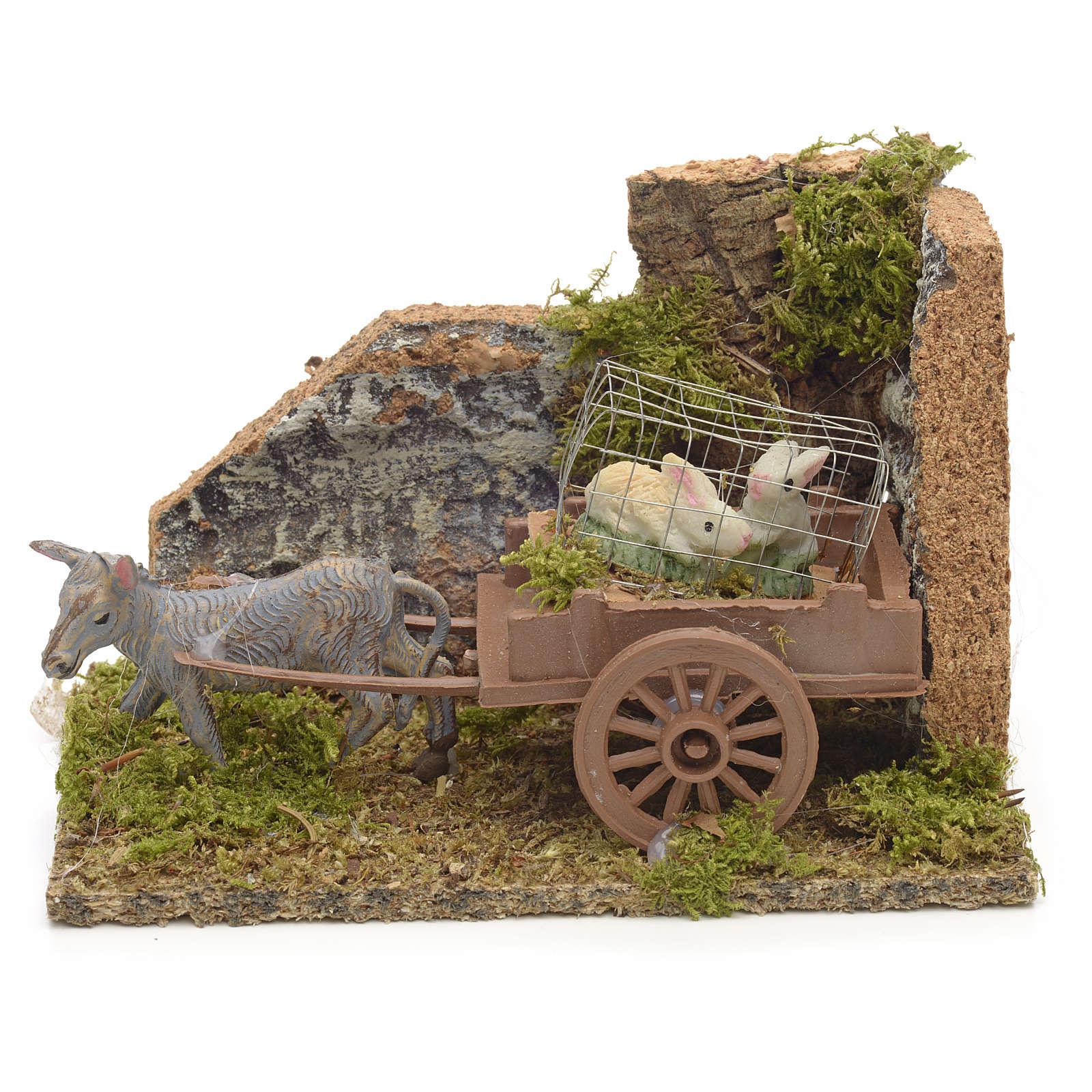 Asino con carretto di conigli ambiente presepe 10x14x9 cm 4