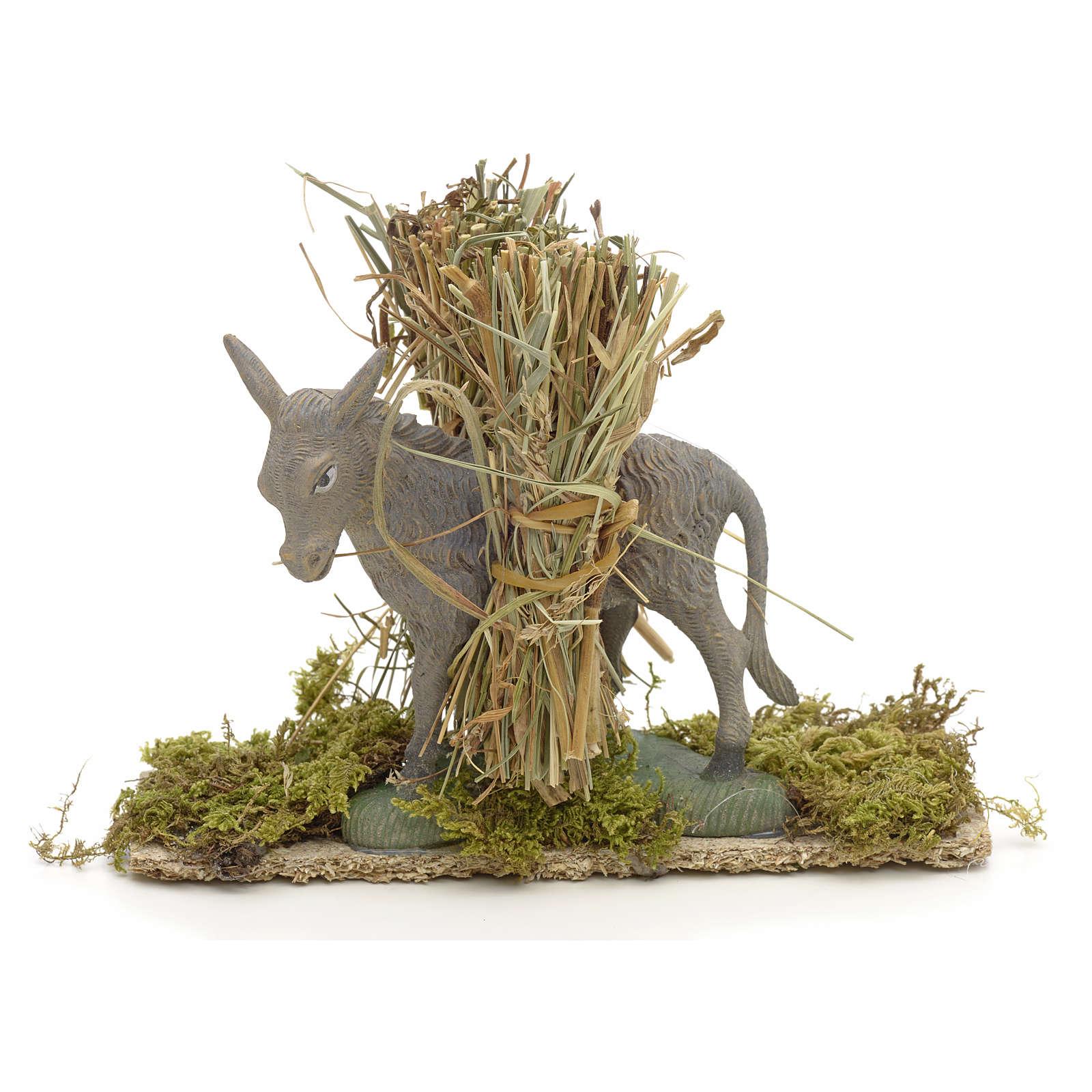 Nativity setting, donkey with bundles 11x14x4cm 4