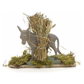 Nativity setting, donkey with bundles 11x14x4cm s1