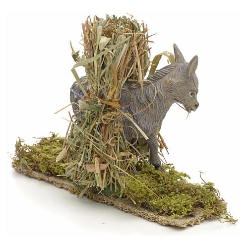 Nativity setting, donkey with bundles 11x14x4cm 2