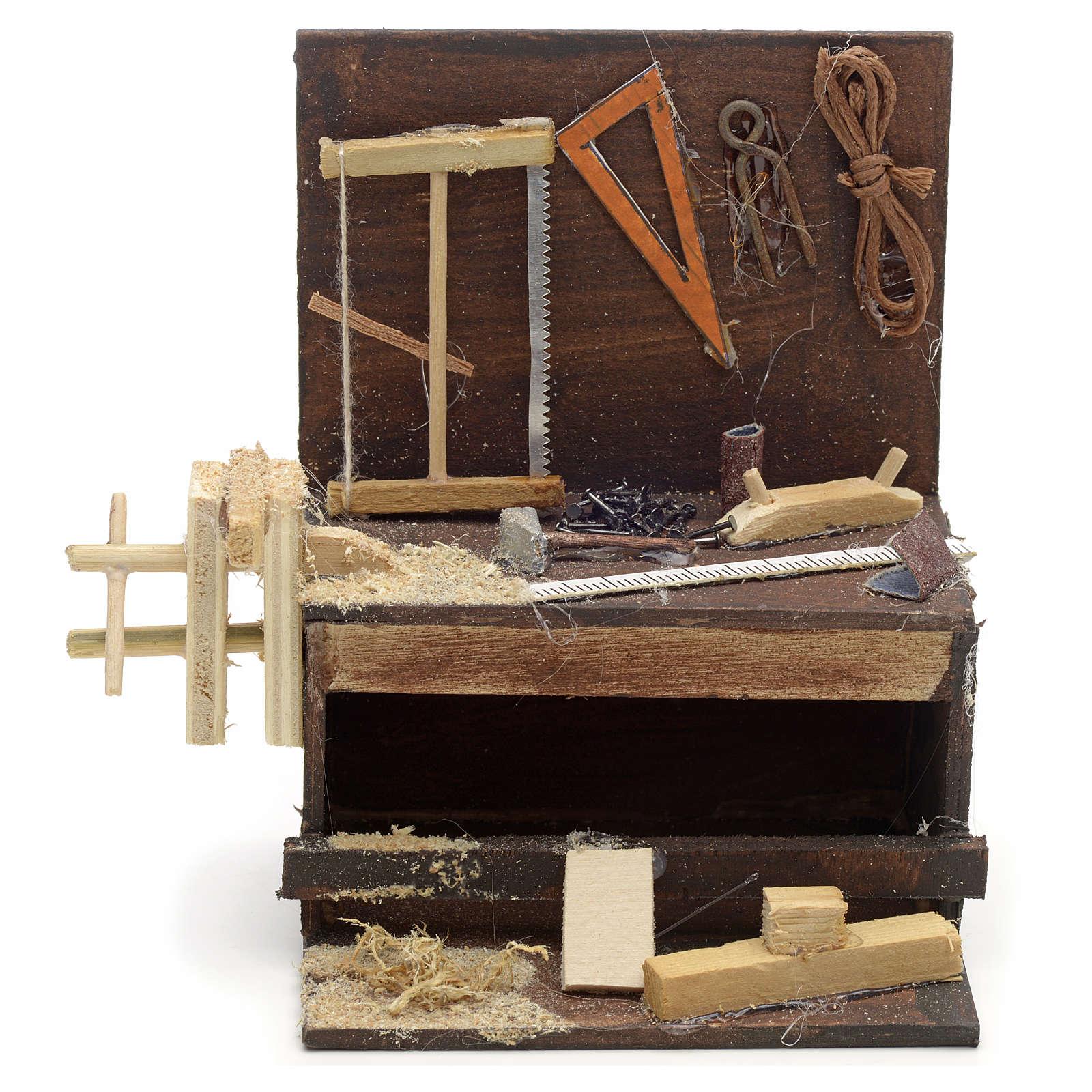 Etabli du menuiser en miniature crèche Napolitaine 10x10x7 cm 4