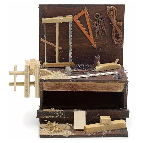 Etabli du menuiser en miniature crèche Napolitaine 10x10x7 cm 1