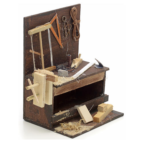 Etabli du menuiser en miniature crèche Napolitaine 10x10x7 cm 2