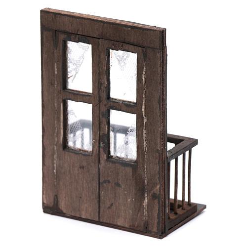 Puerta con balcón 13x7x8 cm pesebre napolitano 3