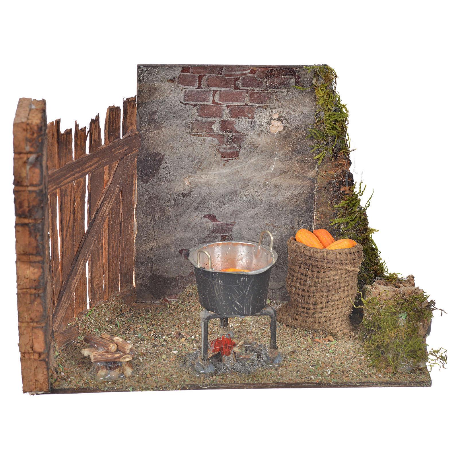 Milieu épis de mais et casserole 10,5x15x8 crèche Napolitaine 4