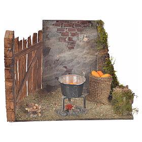 Milieu épis de mais et casserole 10,5x15x8 crèche Napolitaine s1